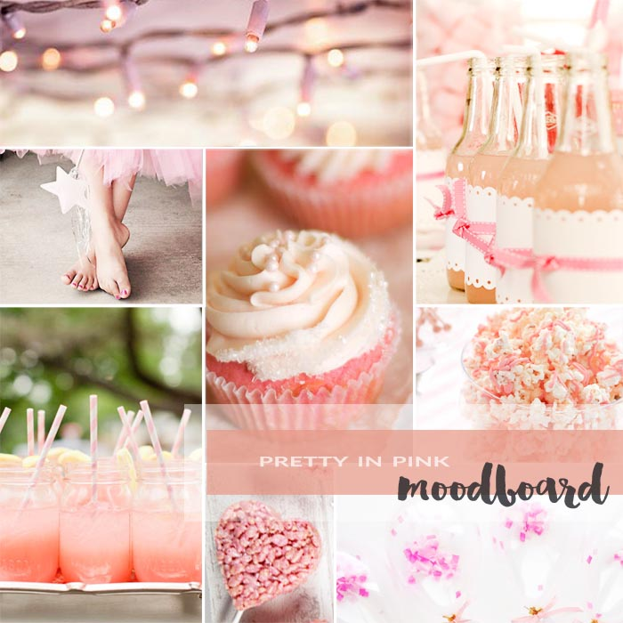 Pretty In Pink Party Moodboard | A collation of pink party images for a little girl's birthday party.